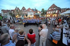 Impressionen vom Shantychor-Festival auf dem Stader Fischmarkt. Foto: djd/Tourismusverband Landkreis Stade/Martin Elsen